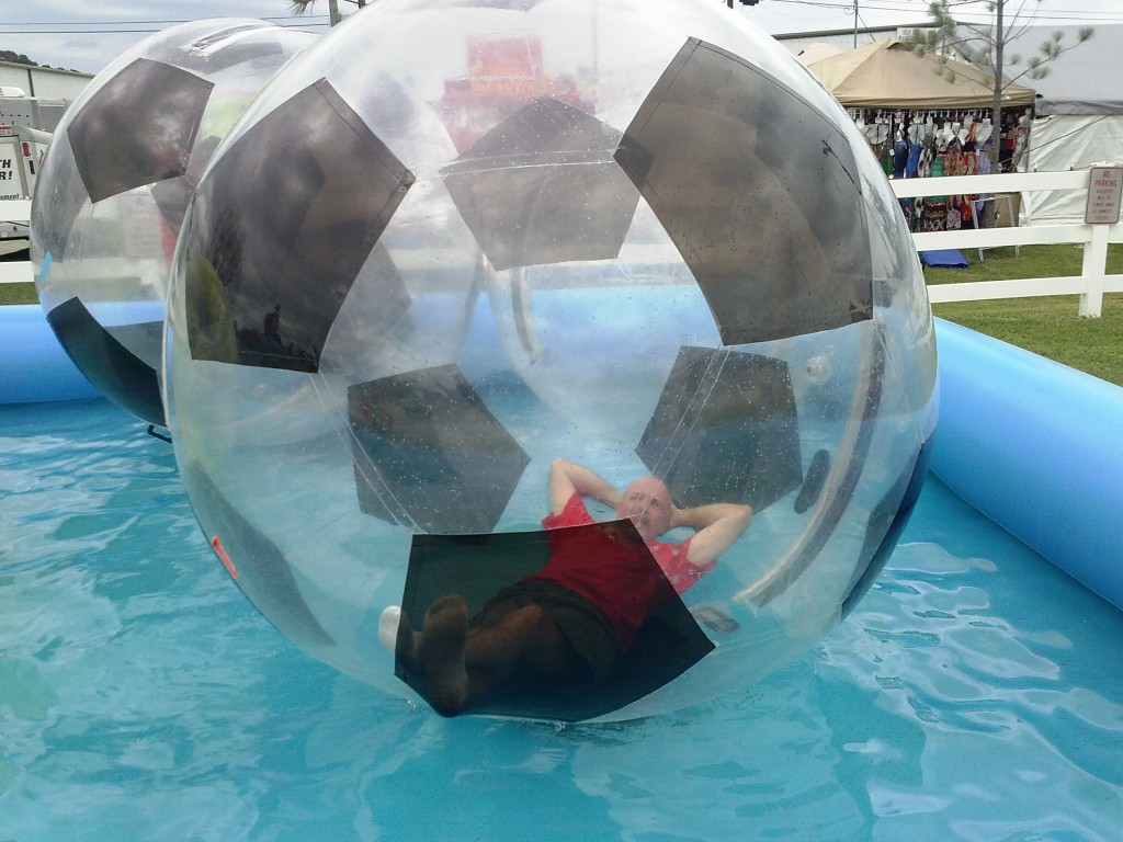 Bubble Balls for rental or can be brought to your event. Fun for all from small kids to teens some adults will even give it a roll. It like walking on water